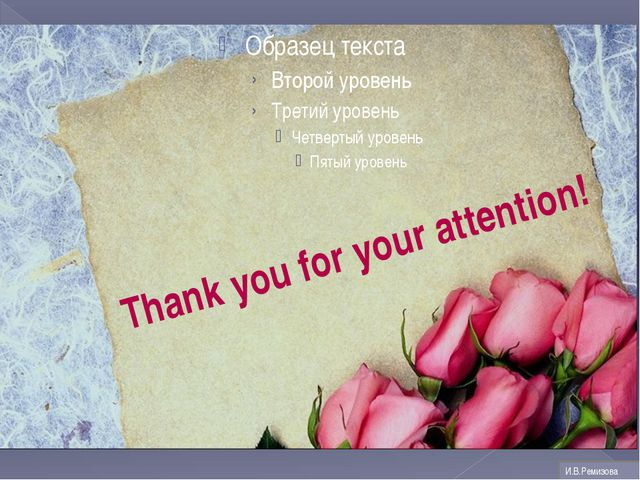 Thank you for your attention! И.В.Ремизова