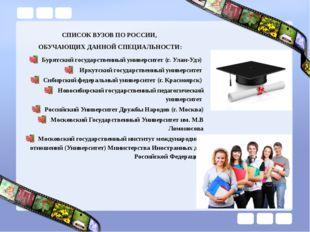 СПИСОК ВУЗОВ ПО РОССИИ, ОБУЧАЮЩИХ ДАННОЙ СПЕЦИАЛЬНОСТИ: Бурятский государстве