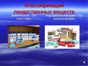 Классификация лекарственных веществ Химическая – ПО СОСТАВУ Фармакологическая