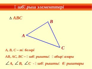 Үшбұрыш элементтері В А, В, С – төбелері АВ, АС, ВС – үшбұрыштың қабырғалары