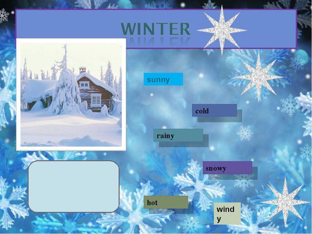 sunny cold rainy snowy hot windy