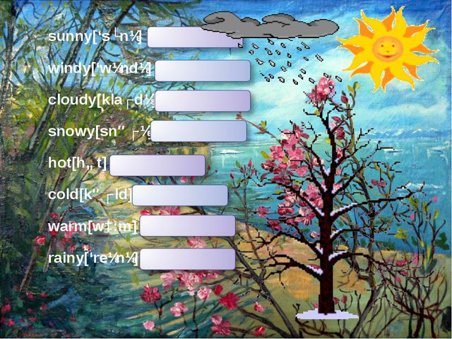 sunny['sʌnɪ] солнечно windy['wɪndɪ] ветрено cloudy[klaʊdɪ] облачно snowy[snəʊ...