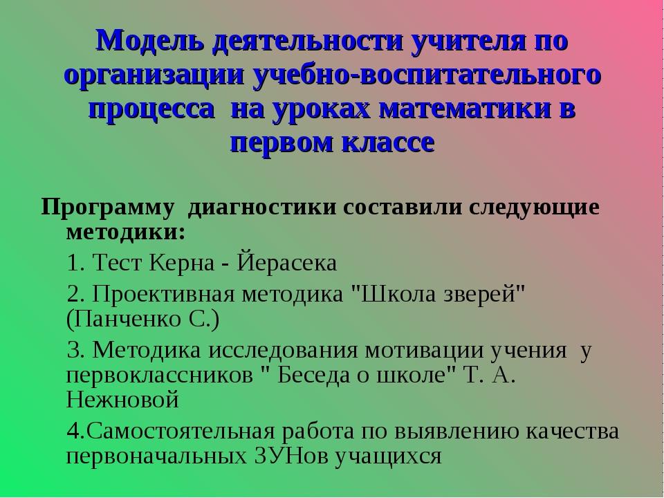 Модель деятельности учителя по организации учебно-воспитательного процесса н...