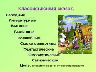 Классификация сказок. Народные Литературные Бытовые Былинные Волшебные Сказки