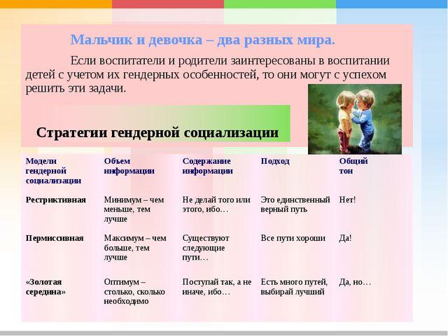 Мальчик и девочка – два разных мира. Если воспитатели и родители заинтере...