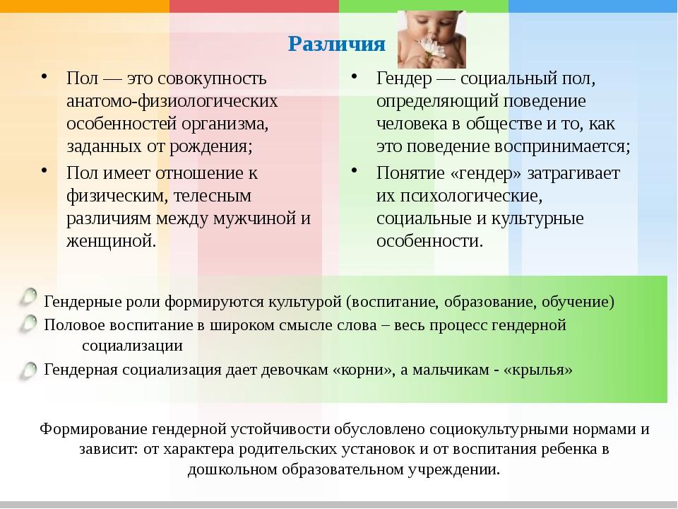 Различия Пол — это совокупность анатомо-физиологических особенностей организ...