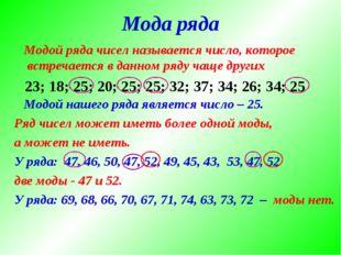 Мода ряда Модой ряда чисел называется число, которое встречается в данном ряд