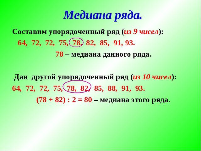 Составим упорядоченный ряд (из 9 чисел): 64, 72, 72, 75, 78, 82, 85, 91, 93....