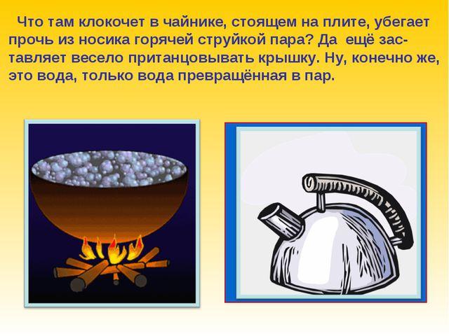 Что там клокочет в чайнике, стоящем на плите, убегает прочь из носика горяче...