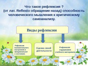Что такое рефлексия ? (от лат. Reflexio обращение назад) способность человече