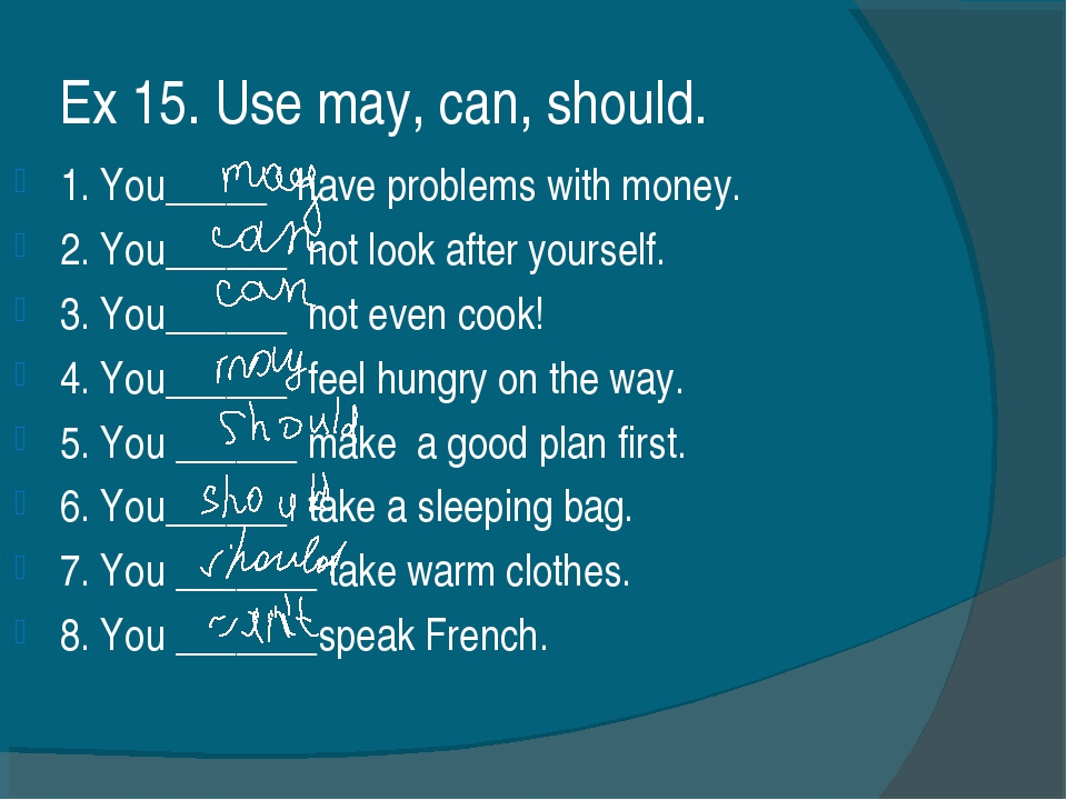 Ex 15. Use may, can, should. 1. You_____ have problems with money. 2. You____...