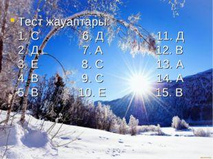 Тест жауаптары: 1. С 6. Д 11. Д 2. Д 7. А 12. В 3. Е 8. С 13. А 4. В 9. С 14.
