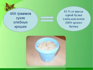 488 граммов сухих хлебных крошек 61 % от массы одной булки хлеба или почти 10