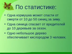 По статистике: Одна кормушка может спасти от смерти от 10 до 50 синиц за зиму