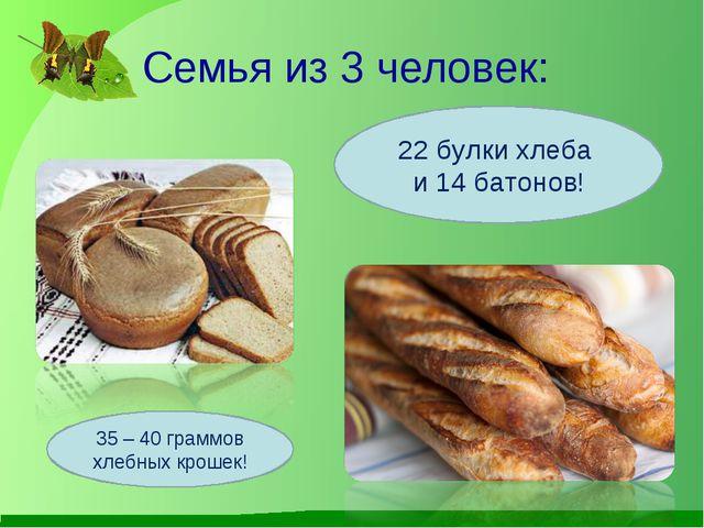 Семья из 3 человек: 22 булки хлеба и 14 батонов! 35 – 40 граммов хлебных крош...