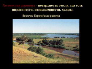 Холмистая равнина - поверхность земли, где есть низменности, возвышенности, х
