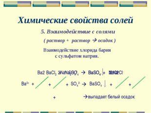 Химические свойства солей Взаимодействие хлорида бария с сульфатом натрия. Ba