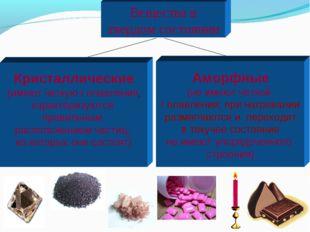 Вещества в твердом состоянии Аморфные (не имеют четкой t плавления; при нагре