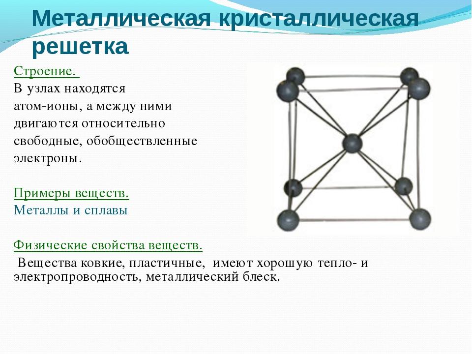 Металлическая кристаллическая решетка Строение. В узлах находятся атом-ионы,...