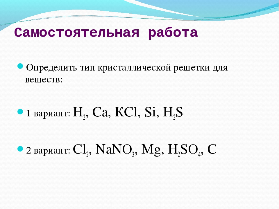 Самостоятельная работа Определить тип кристаллической решетки для веществ: 1...