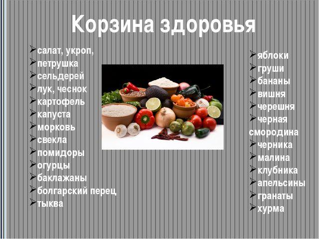 Корзина здоровья салат, укроп, петрушка сельдерей лук, чеснок картофель капус...