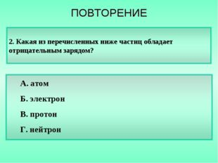 А. атом Б. электрон В. протон Г. нейтрон