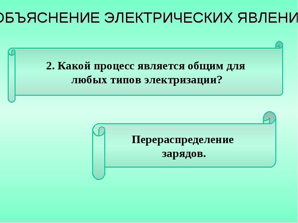 2. Какой процесс является общим для любых типов электризации? Перераспределен...