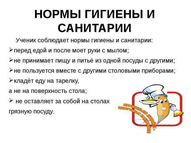 Ученик соблюдает нормы гигиены и санитарии: перед едой и после моет руки с...