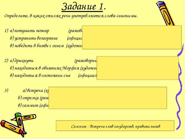 Задание 1. Определите, в каких стилях речи употребляются слова-синонимы. 1) а...