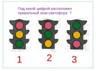 1 2 3 Под какой цифрой расположен правильный знак светофора ?