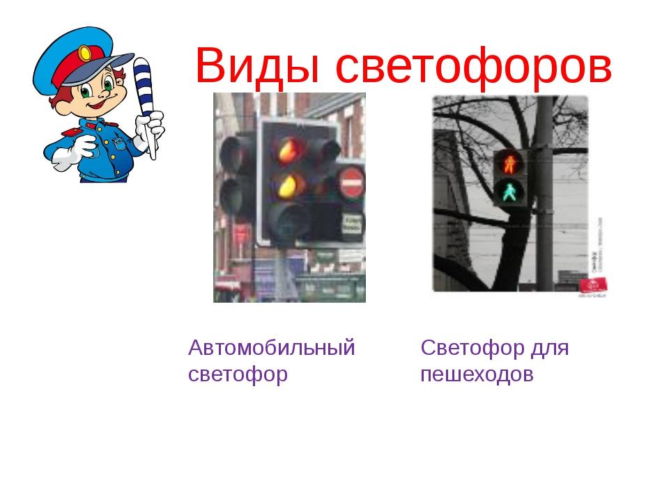 Виды светофоров Автомобильный светофор Светофор для пешеходов