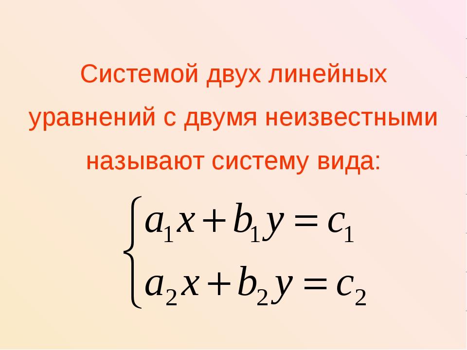 Системой двух линейных уравнений с двумя неизвестными называют систему вида: