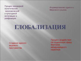 Процесс всемирной политической, экономической и культурной интеграции и унифи