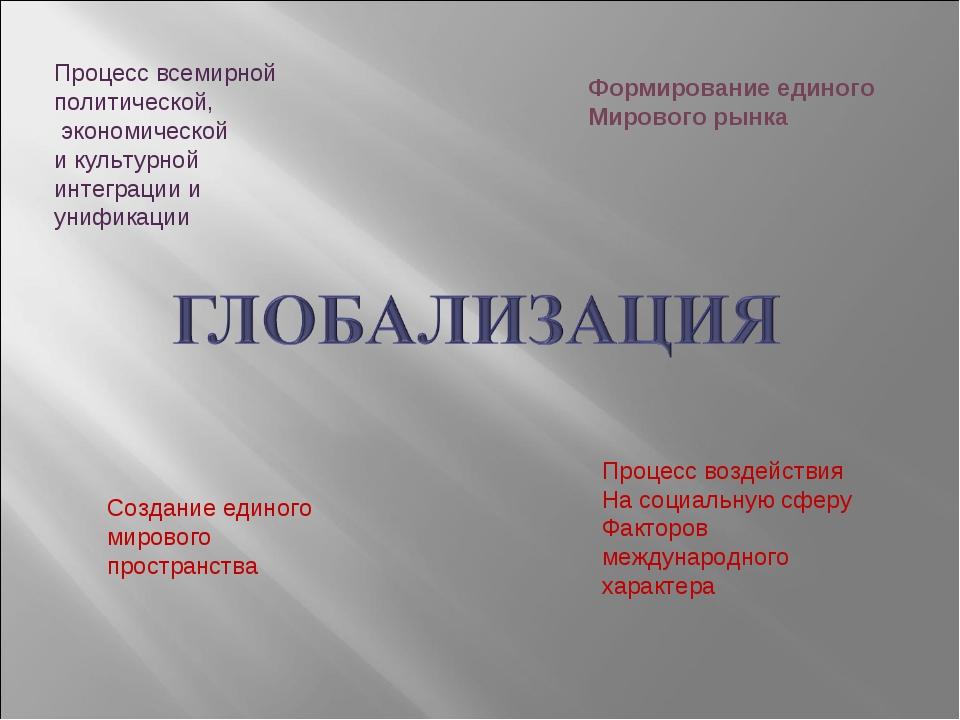 Процесс всемирной политической, экономической и культурной интеграции и унифи...