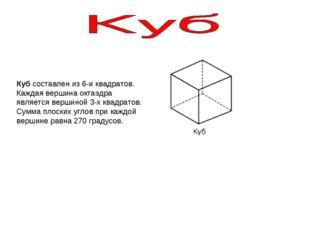 Куб составлен из 6-и квадратов. Каждая вершина октаэдра является вершиной 3-х