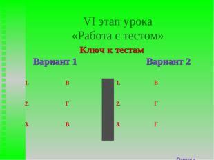 VI этап урока «Работа с тестом» Ключ к тестам Вариант 1 Вариант 2 Оценки 1.В