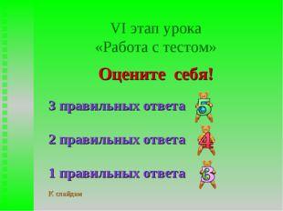 VI этап урока «Работа с тестом» Оцените себя! 3 правильных ответа 2 правильны