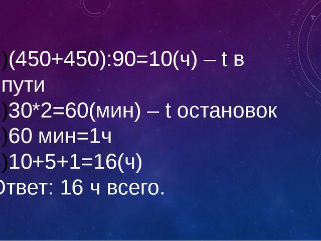 (450+450):90=10(ч) – t в пути 30*2=60(мин) – t остановок 60 мин=1ч 10+5+1=16(...