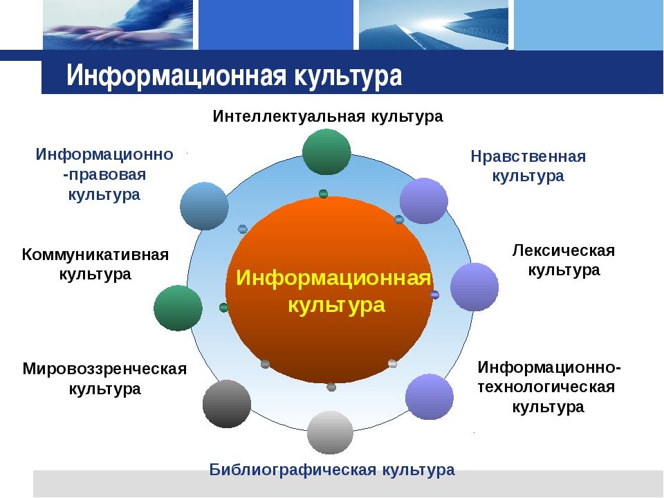 Информационная культура Нравственная культура Информационно-правовая культур...