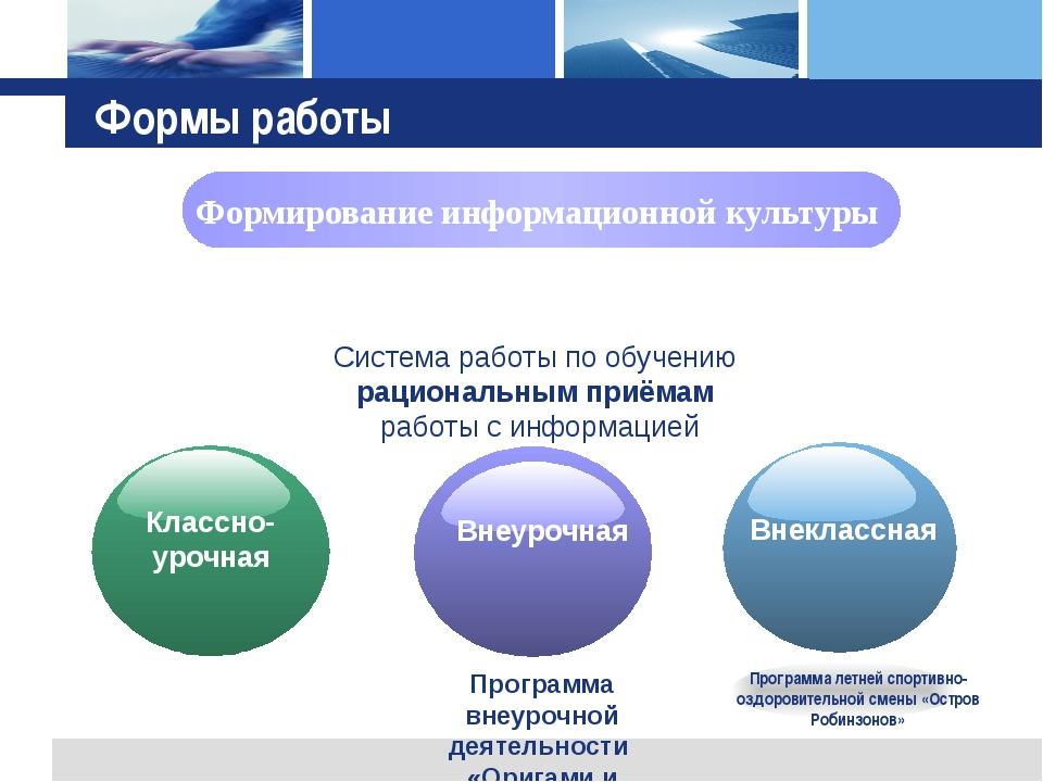Программа внеурочной деятельности «Оригами и экология Югры» Формы работы Форм...