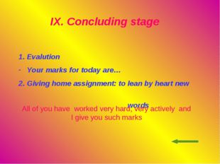 IX. Concluding stage Evalution Your marks for today are… 2. Giving home as