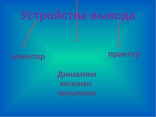 Устройства вывода монитор Динамики колонки наушники принтер