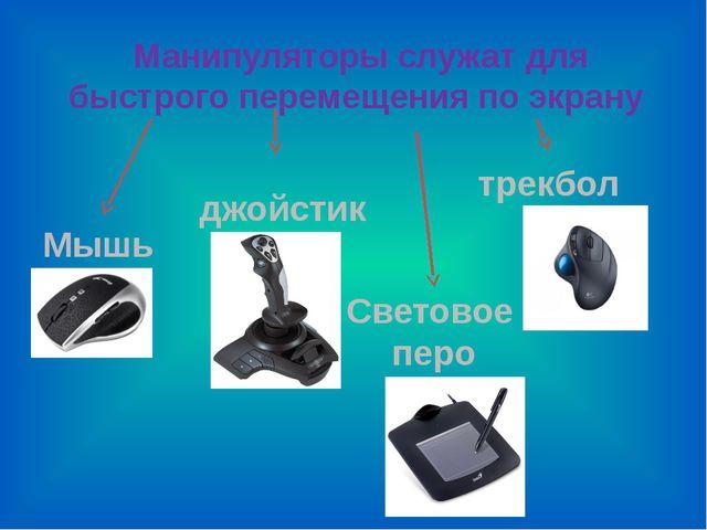 Манипуляторы служат для быстрого перемещения по экрану Мышь джойстик трекбол...
