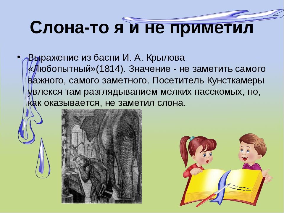 Слона-то я и не приметил Выражение из басни И. А. Крылова «Любопытный»(1814)....