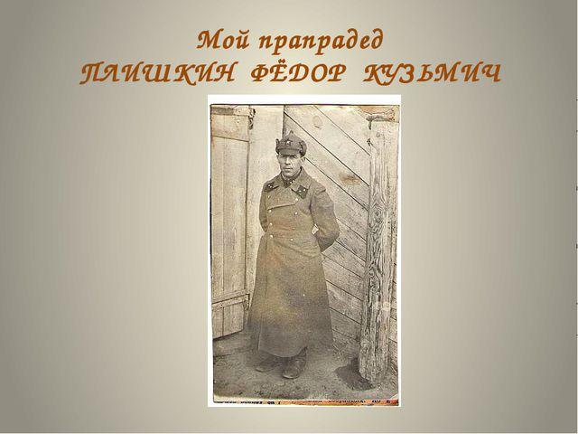Мой прапрадед ПЛИШКИН ФЁДОР КУЗЬМИЧ
