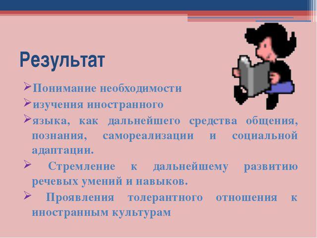 Результат Понимание необходимости изучения иностранного языка, как дальнейшег...