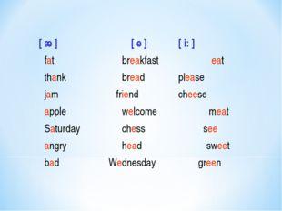 [ æ ] [ e ][ i: ] fatbreakfast eat thankbreadplease jam fri