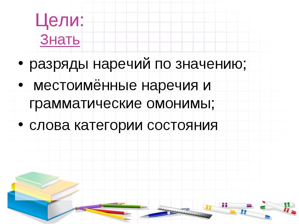 Цели: Знать разряды наречий по значению; местоимённые наречия и грамматически...