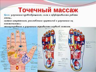 Точечный массаж Цель: улучшение кровообращения, силы и эффективности работы м