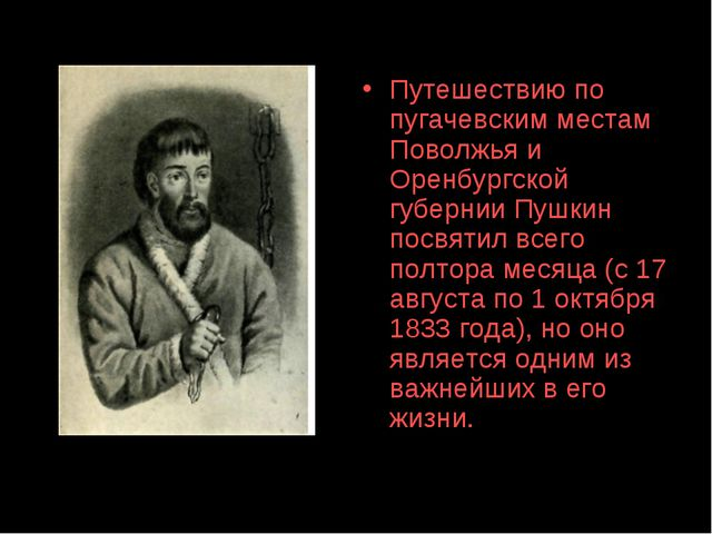 Путешествию по пугачевским местам Поволжья и Оренбургской губернии Пушкин пос...